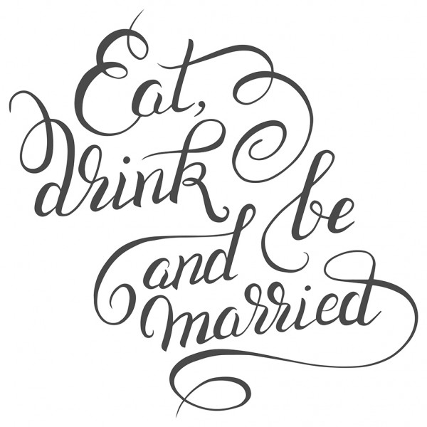 Wandtattoo Spruch Familie Eat, drink and be married Deko